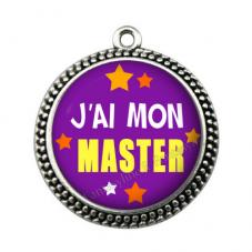"""Pendentif Cabochon en Résine """"J'ai mon Master"""" 25mm"""
