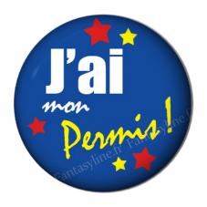 """Cabochon en Résine à Coller """"J'ai mon Permis"""" 25mm"""