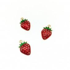 4 Breloques Fruit Fraise Émaillée en Métal Doré 10x16mm
