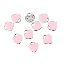 4 Breloques Coeur Émail Rose Métal Argenté 12x11mm pour la Création de Bijoux Fantaisie - DIY