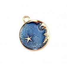 2 Breloques Lune Étoile Émail Bleu Métal Doré 26x22mm pour la Création de Bijoux Fantaisie - DIY
