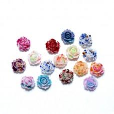 10 Cabochons Mini Fleurs Multicolore en Résine 10mm