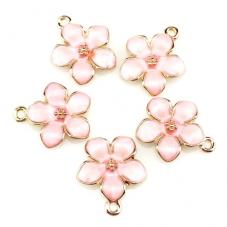 2 Breloques Fleur Émail Rose Métal Doré 17x15mm