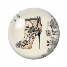 Cabochon en Verre Illustré Chaussures à Talon Vintage 12 à 25mm pour la Création de Bijoux Fantaisie - DIY