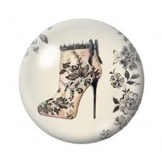 Cabochons en Verre Illustré Chaussures à Talon Vintage 18, 20 ou 25mm