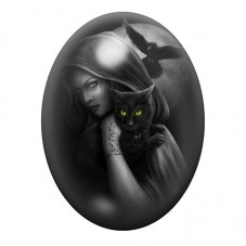 Cabochon en Verre Illustré Chat Noir Corbeau Gothique 30x40mm