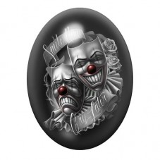 Cabochon en Verre Illustré Clown Gothique 30x40mm
