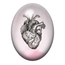 Cabochon en Verre Illustré Coeur Organe Gothique 30x40mm