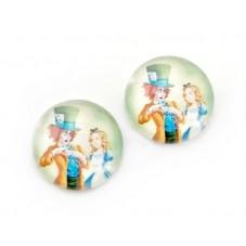 2 Cabochons en Verre Illustrés Alice au Pays des Merveilles 12mm pour la Création de Bijoux Fantaisie - DIY