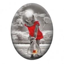 Cabochon en Verre Illustré Petite Fille à la Mer 30x40mm