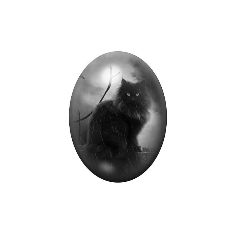 Cabochon en Verre Illustré Chat Noir Gothique 30x40mm