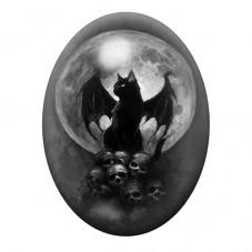 Cabochon en Verre Illustré Chat Noir Lune Gothique 30x40mm