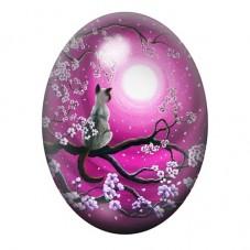 Cabochon en Verre Illustré Chat Lune Cerisier 13x18, 18x25 ou 30x40mm