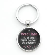"""Porte-clé """"Merci Tata tu es une Nounou qui Déchire"""" Cadeau de Fin d'Année d'École"""