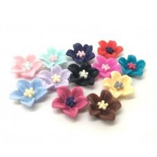 10 Cabochons Fleurs Multicolore en Résine 13mm pour la Création de Bijoux Fantaisie - DIY