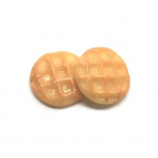 2 Cabochons Miniature Gaufre Gourmandise Fimo 12mm