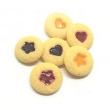 6 Cabochons Biscuit Coeur Fruit Miniature en Fimo 10mm