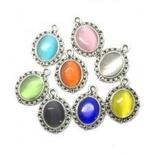 8 Pendentifs Breloque en Métal Ovale Oeil de Chat Multicolore 13x18mm pour la Création de Bijoux Fantaisie - DIY