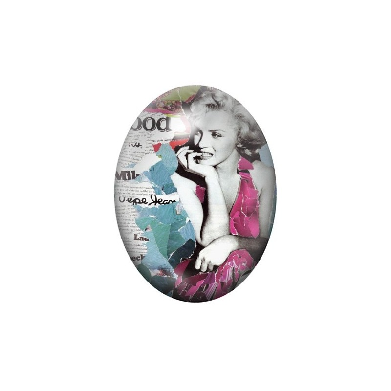 Cabochon en Verre Illustré Marilyn Monroe 30x40mm