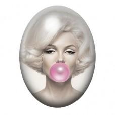 Cabochon en Verre Illustré Marilyn Monroe Bubble Gum 13x18, 18x25 ou 30x40mm pour la Création de Bijoux Fantaisie - DIY