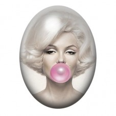 Cabochon en Verre Illustré Marilyn Monroe Bubble Gum 30x40mm
