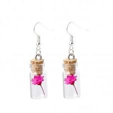 Boucles d'Oreilles Fiole avec Véritables Fleurs Séchées