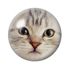 Cabochon en Verre Illustré Tête de Chat 18, 20 ou 25mm