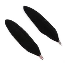 2 Breloques en Métal Argenté en Plume d'Oie 8cm - 10 coloris pour la Création de Bijoux Fantaisie - DIY