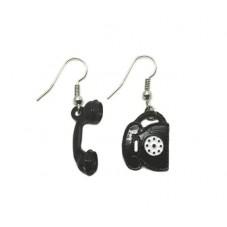 Boucles d'Oreilles en Métal Téléphone Vintage Noir
