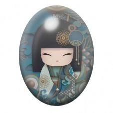 Cabochon en Verre Illustré Geisha Japon 30x40mm