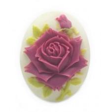 Camée Cabochon Fleur Rose Haute Qualité AAAA+ 30x40mm pour la Création de Bijoux Fantaisie - DIY