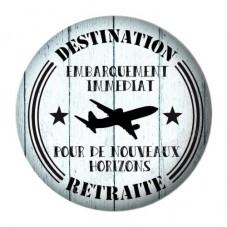 """Cabochon en Résine à Coller """"Destination Retraite"""" 25mm"""