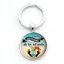 "Porte-clé ""Les Plaisirs de la Retraite"" Cadeau Original Humour Retraite"
