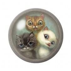 Cabochons en Verre Illustré Trio de Chats 12 à 25mm pour la Création de Bijoux Fantaisie - DIY