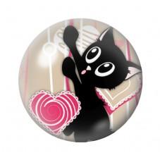Cabochon en Verre Illustré Chat Coeur 12 à 25mm pour la Création de Bijoux Fantaisie - DIY