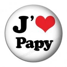 """Cabochon en Résine à Coller """"J'aime Papy 25mm"""