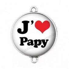 """Connecteur Cabochon en Résine """"J'aime Papy"""" 25mm"""