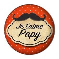 """Cabochon en Résine à Coller """"Je t'aime Papy 25mm"""