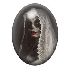 Cabochon en Verre Illustré Jour des Morts Gothique 13x18, 18x25 ou 30x40mm pour la Création de Bijoux Fantaisie - DIY