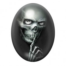 Cabochon en Verre Illustré Crâne Tête de Mort Gothique 30x40mm
