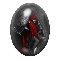 Cabochon en Verre Illustré Chaperon Rouge Gothique 30x40mm