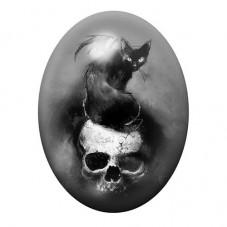 Cabochon en Verre Illustré Chat Noir Crâne Tête de Mort Gothique 13x18, 18x25 ou 30x40mm pour la Création de Bijoux Fantaisie -