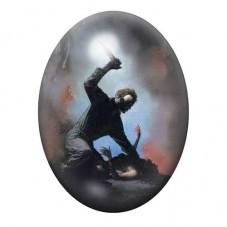 Cabochon en Verre Illustré Halloween Horreur Gothique 13x18, 18x25 ou 30x40mm pour la Création de Bijoux Fantaisie - DIY