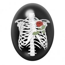 Cabochon en Verre Illustré Squelette Gothique 13x18, 18x25 ou 30x40mm pour la Création de Bijoux Fantaisie - DIY