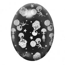 Cabochon en Verre Illustré Martien Extraterrestre 30x40mm