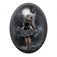 Cabochon en Verre Illustré Fille Gothique 30x40mm