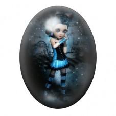Cabochon en Verre Illustré Fille Gothique 13x18, 18x25 ou 30x40mm pour la Création de Bijoux Fantaisie - DIY