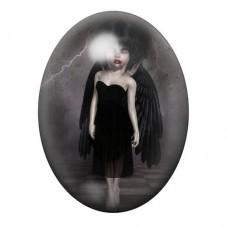 Cabochon en Verre Illustré Ange Noir Fille Gothique 30x40mm