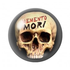 Cabochon en Verre Illustré Crâne Tête de Mort Gothique 18, 20 ou 25mm