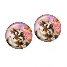 2 Cabochons en Verre Illustrés Chat Fleurs Enfant 12mm